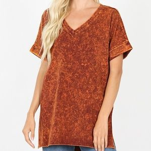 Orange Mineral Wash Zenana Top